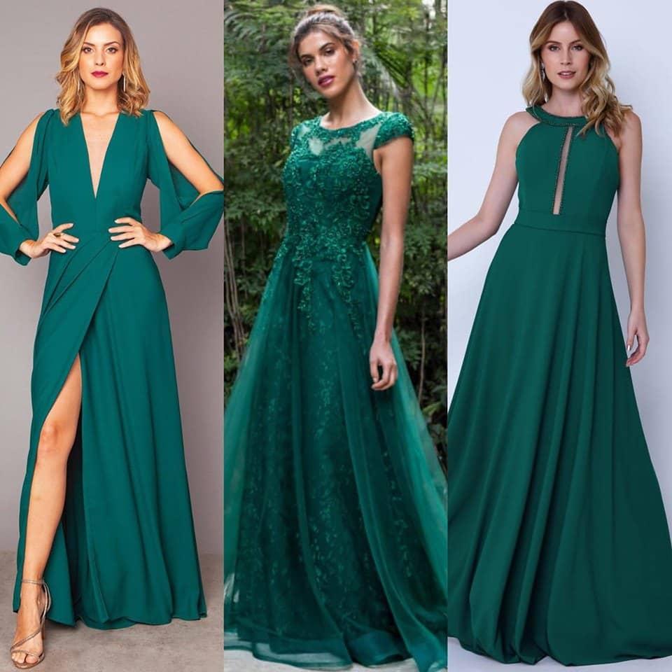 Vestidos de Festa em tons de verde